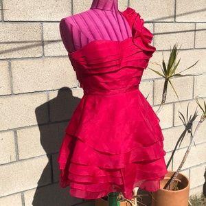 Bebe One Shoulder Hot Pink SILK Dress
